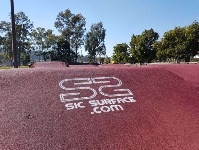 Sic Surface can add logos over their BMX track water proof treatment