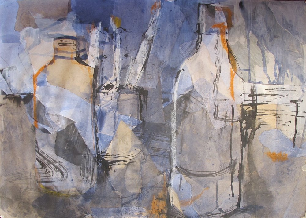 Bottles and Brushes : 80 X 70 cm collage on paper
