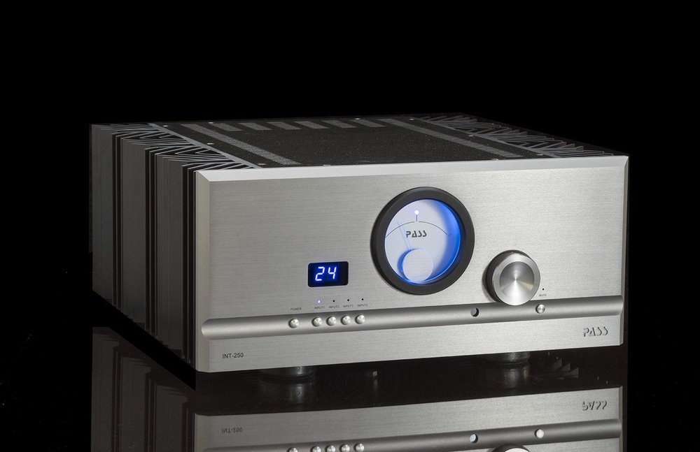 PASS LABS INT 250 INTEGRATED AMPLIFIER   Like the INT-60, the INT-250 utilizes the synergies developed in the .8 series power amplifiers. Unlike the INT-60, however, it brings 250 watts per channel of listening pleasure. With higher power MOSFETs and more of them...