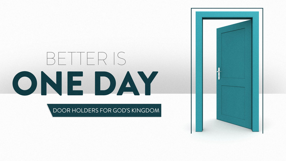 "BETTER IS ONE DAY: Door Holders for GOD's Kingdom   At Younger Generation Church, we take great pleasure in opening the door for others to experience Jesus. #Here2Help #IAmYG  Join us for our new series, ""Better is One Day,"" Saturdays, 10:15AM CST, ygchurch.com #ygchurch  ""Just one day in the courts of Your temple is greater than a thousand anywhere else. I would rather serve as a porter at my God's doorstep than live in luxury in the house of the wicked."" —Psalm 84:10 [Voice]"
