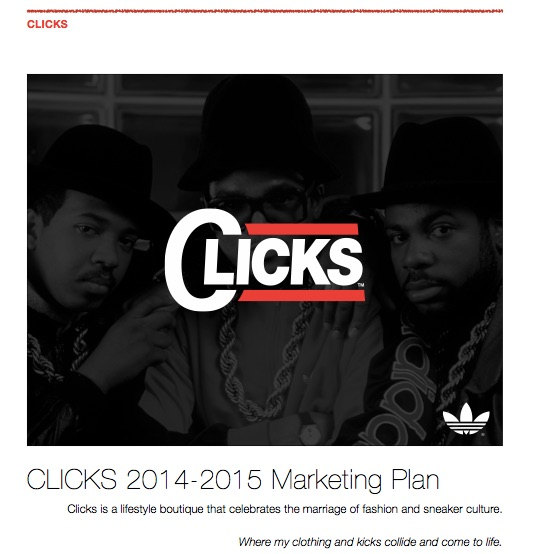 Run DMC's CLICKS Boutique - Executed and oversaw the launch of Run DMC's premier adidas sneaker boutique in Milwaukee. Consulted on and directed everything, from the brand strategy to the buying, website design, securing high tier accounts and the full year of marketing activations.