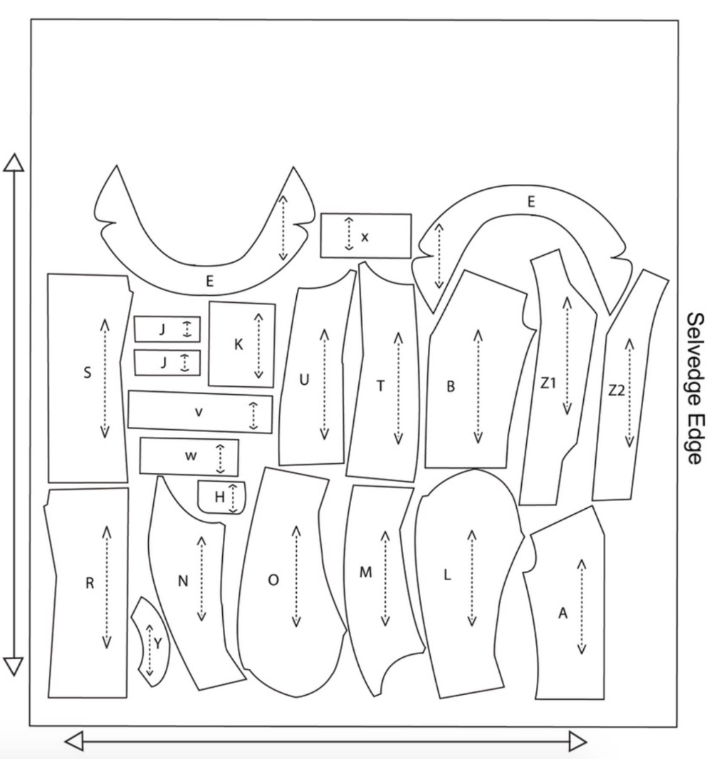 Example of a regular fabric lay-plan.