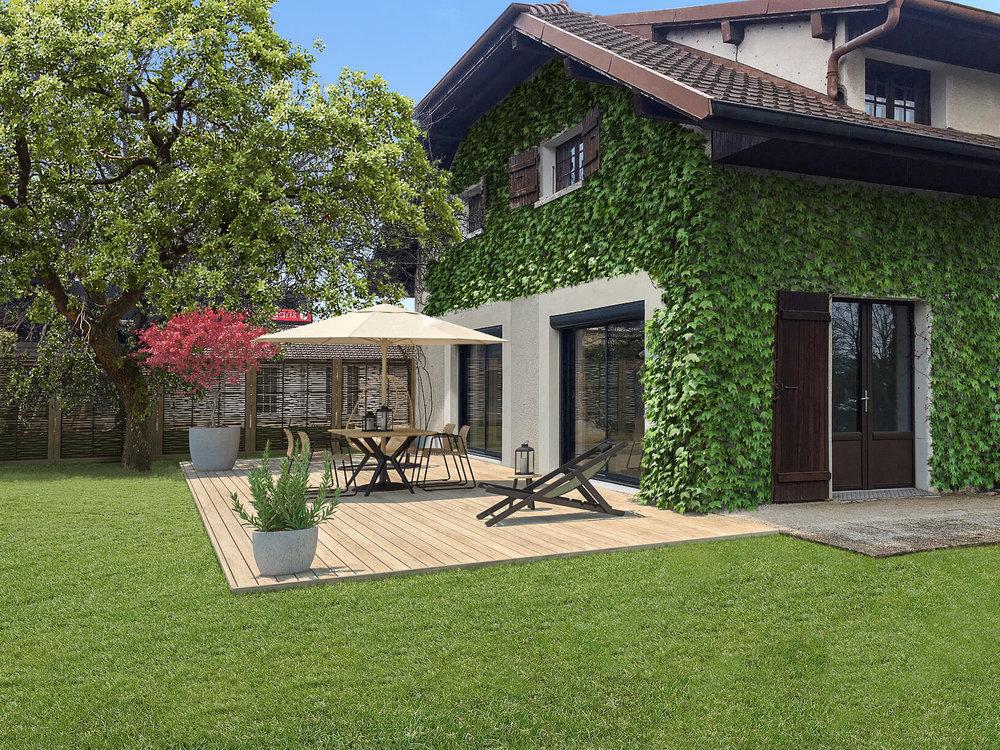 Cette maison est tout juste rénovée : Huisseries neuves, peintures refaites, sols à l'étage refaits, salle de bains refaites.  Les visuels présentent la maison rénovée avec uniquement le mobilier intérieur/extérieur et végétation en 3D.
