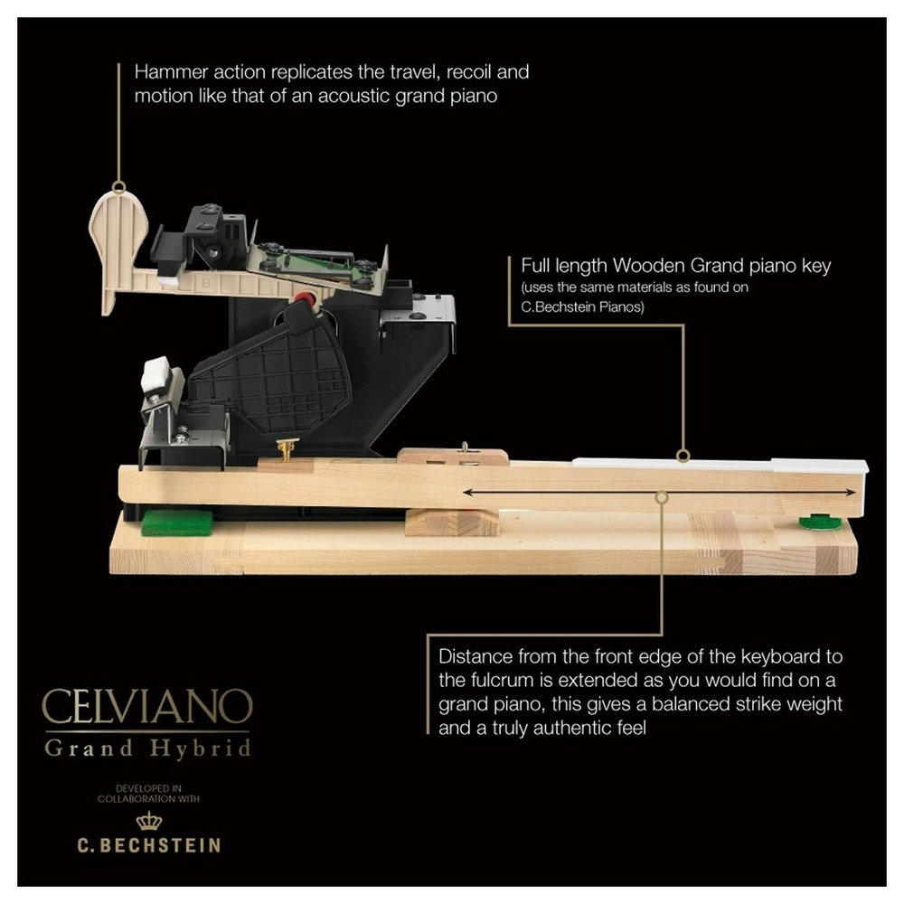Casio GP-300WE Grand Hybrid Piano hammer action cross section