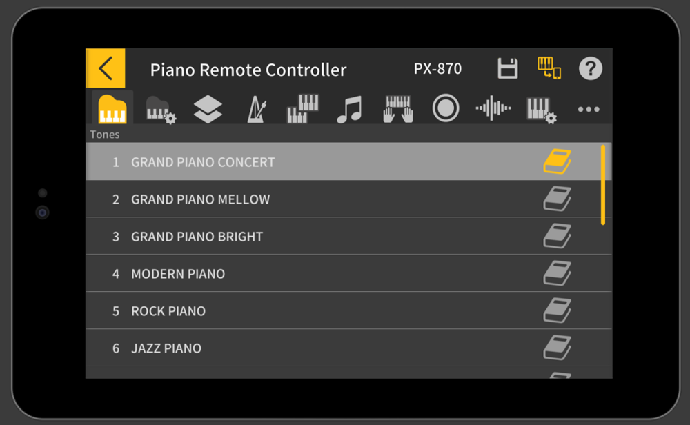 Chordana Play Piano lets you control the piano functions from your phone, learn new pieces and view PDF music files (iOS & Android*).