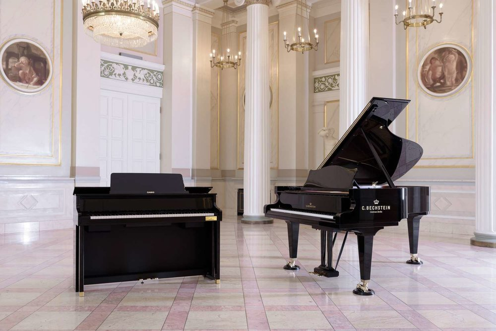 Grand Hybrid pianos have three different Grand Piano tones stored inside them, such as a C. Bechstein D282 (right).