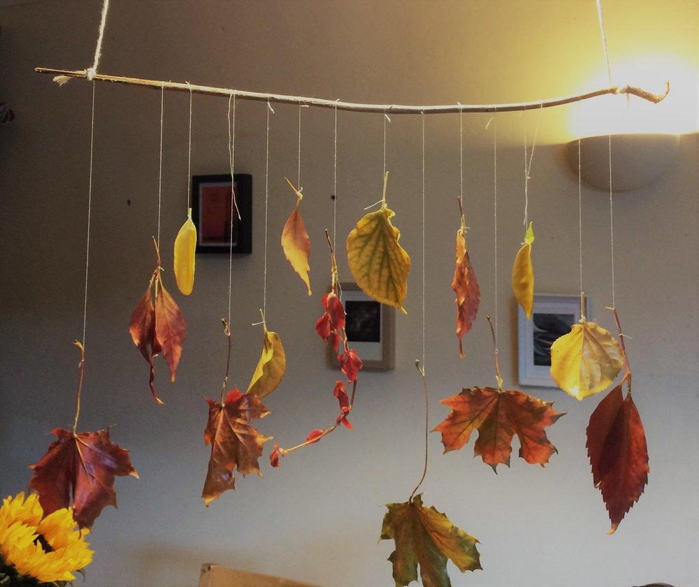 waxed autumn leaf mobile
