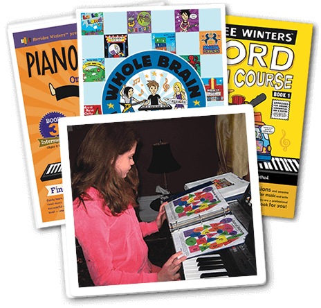 The Meridee Winters Exclusive Method and Books - Meridee's exclusive method goes a step beyond traditional lessons (repertoire, skill drills, flash cards, reading, chords and more) by tapping into the brain's highest level of learning to build creative intelligence through supplemental materials. Each lesson is customized to suit the student. Through patterns, themes and songs and with the help of Meridee's exclusive books and games, students get the unique opportunity to learn more than just an instrument. MW students learn to think critically and creatively while also learning to express themselves. Learn more about the MW method
