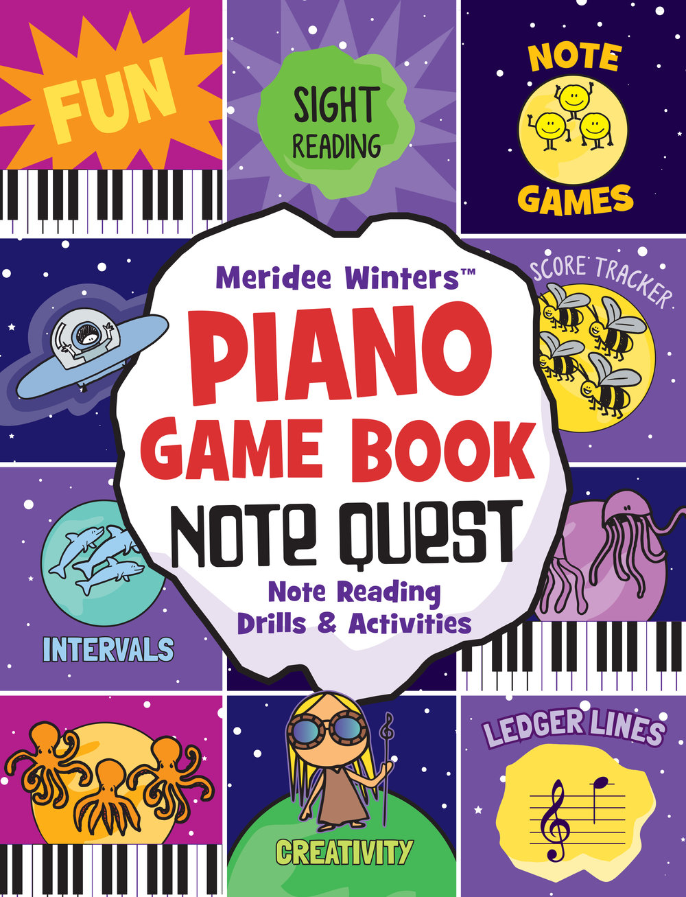 Note Quest Piano Game Book - Note Quest has been used and tested by over 10,000 students. Meridee Winters Note Quest (Piano Game Book): Note Reading Drills and Activities is an innovative music education tool that features pages of vibrant, effective and FUN note reading games. These activities are great way to strengthen note reading and sight reading skills, since students are drilling and internalizing notes while focusing on specific hand positions, intervals, ledger lines and more. This book can be used by independent learners or by teachers as a fun and powerful lesson tool. Each playful, space-themed game can be used in a variety of ways, from timing yourself on the page and trying the beat a previous record to searching the page for each occurrence of a specific note. See the table of contents for more great ways to play, or invent your own. Note Quest also includes templates for creating your own games, which you can custom tailor to you or your students' needs.