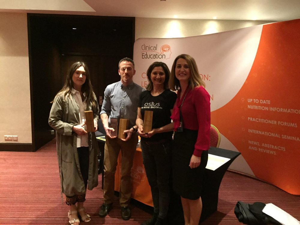 Proud 2017 Food & Drink Award winners (from left to right): Coconut Collaborative (Best Food); Pukka (double winners with Best Drink and Overall Supplier of the Year); Osius Bone Broth (Most Supportive Approach to Nutrition Health Professionals).