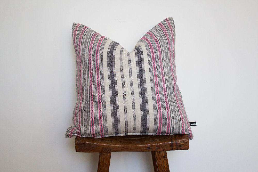 Finley - No. 138   350 RMB  Pillow cover is made from handwoven hemp fabric sourced from Northern Thailand  Size: Roughly 50x50 cm  Pillow back is made from a neutral cotton/linen blend  Zipper on bottom of pillow  Down insert included  Hand wash in cold water
