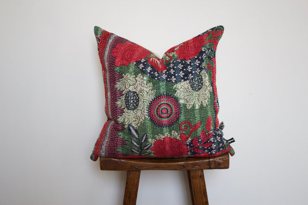 Holly - No. 231   300 RMB  Pillow cover is made from worn sari fabric sourced from India  Size: Roughly 50x50 cm  Pillow back is made from a neutral cotton/linen blend  Zipper on bottom of pillow  Down insert included  Dry clean only