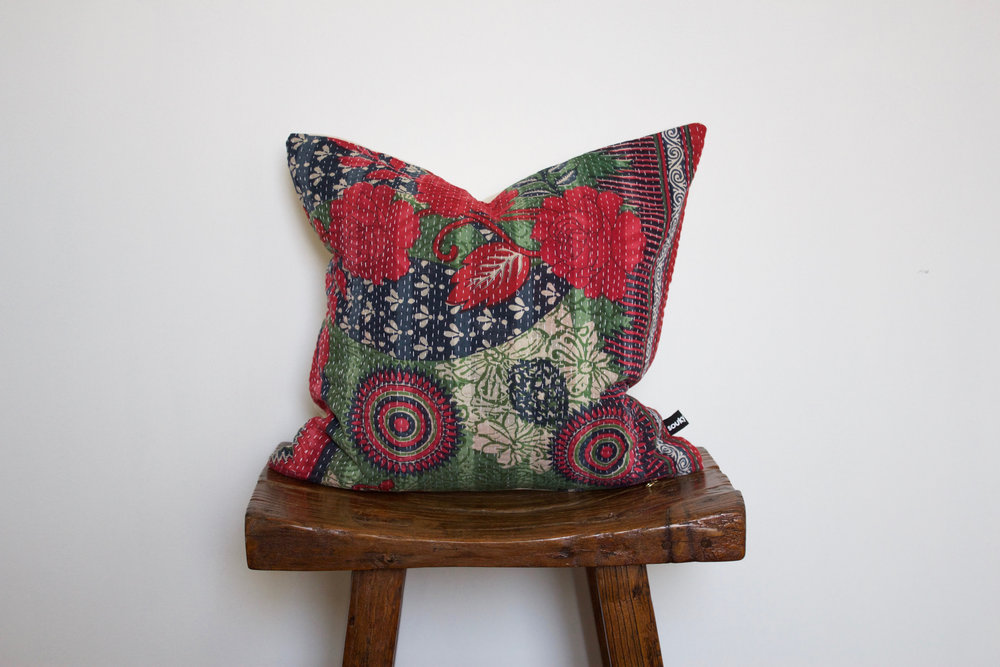 Holly - No. 237   220 RMB  Pillow cover is made from worn sari fabric sourced from India  Size: Roughly 40x40 cm  Pillow back is made from a neutral cotton/linen blend  Zipper on bottom of pillow  Down insert included  Dry clean only