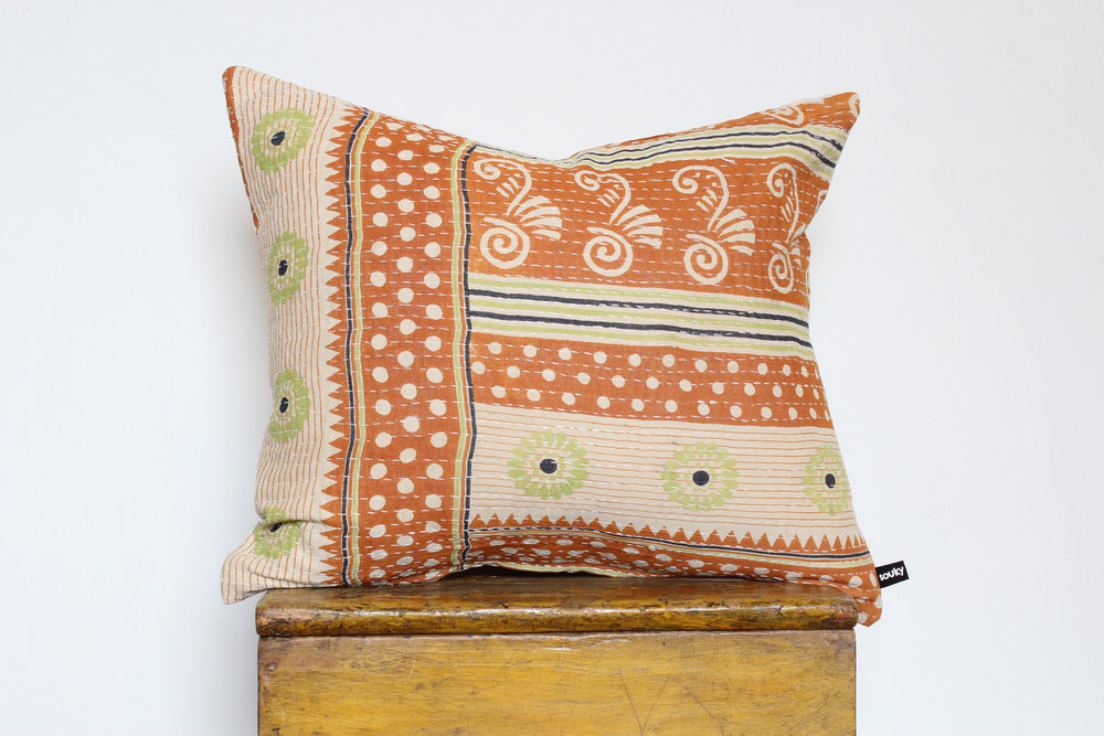 Callie- No. 202   300 RMB  Pillow cover is made from worn sari fabric sourced from India  Size: Roughly 51x45 cm  Pillow back is made from a neutral cotton/linen blend  Brass zipper on bottom of pillow  Down insert included  Hand wash and spot treat