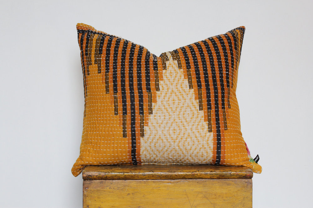 Charly- No. 803   300 RMB  Pillow cover is made from worn sari fabric sourced from India  Size: Roughly 51x45 cm  Pillow back is made from a neutral cotton/linen blend  Brass zipper on bottom of pillow  Down insert included  Hand wash and spot treat