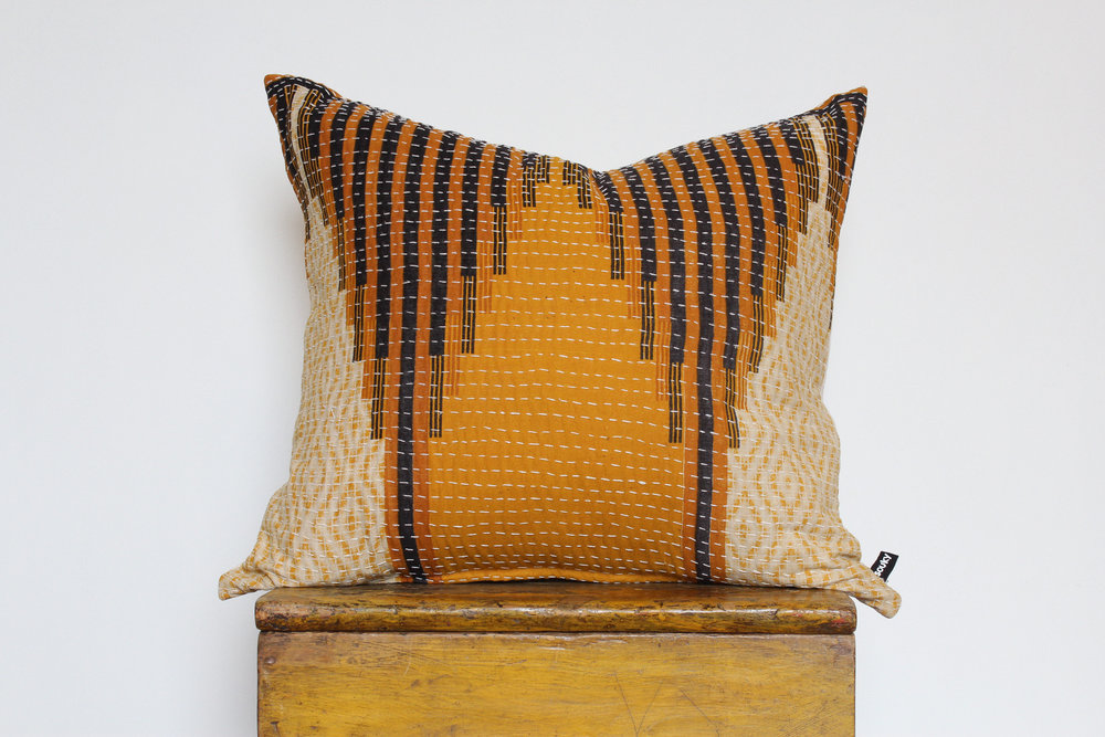 Charly- No. 804   300 RMB  Pillow cover is made from worn sari fabric sourced from India  Size: Roughly 51x45 cm  Pillow back is made from a neutral cotton/linen blend  Brass zipper on bottom of pillow  Down insert included  Hand wash and spot treat