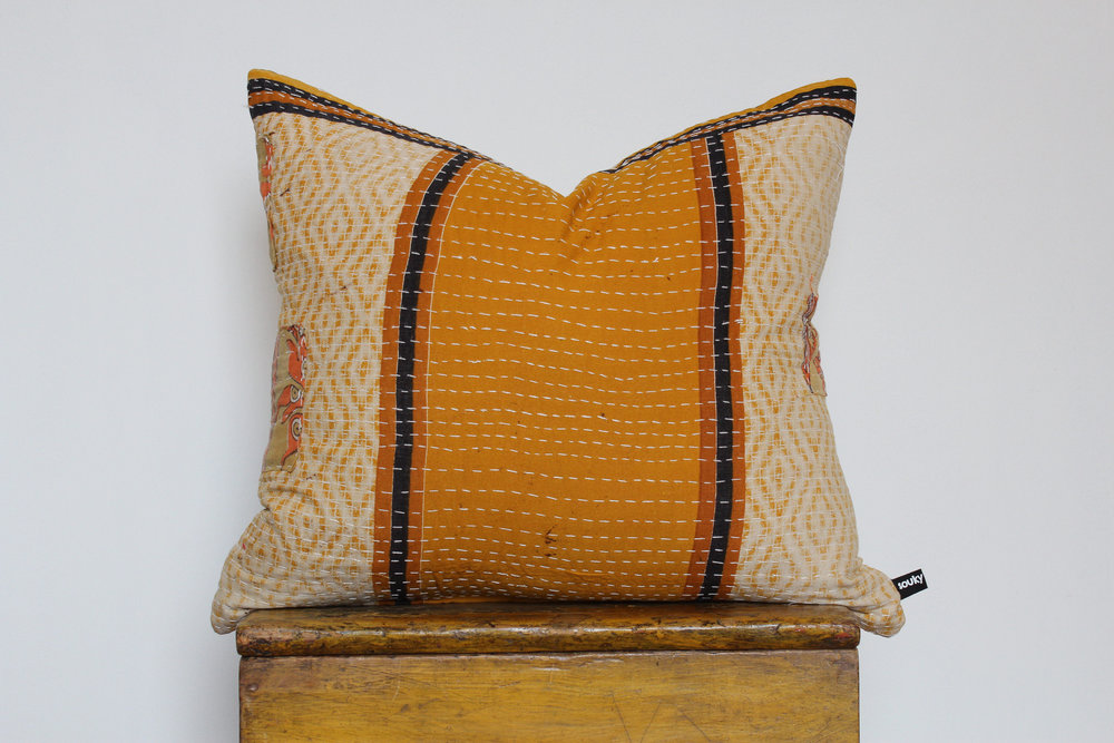 Charly- No. 802   300 RMB  Pillow cover is made from worn sari fabric sourced from India  Size: Roughly 51x45 cm  Pillow back is made from a neutral cotton/linen blend  Brass zipper on bottom of pillow  Down insert included  Hand wash and spot treat