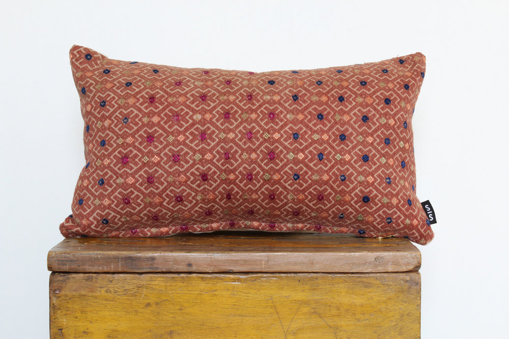 Molly - No. 202   230 RMB  Pillow cover is made from embroidered fabric used in traditional wedding blankets in southern China  Size: Roughly 50x27 cm  Pillow back is made from a neutral cotton/linen blend  Brass zipper on bottom of pillow  Down insert included  Hand wash and spot treat