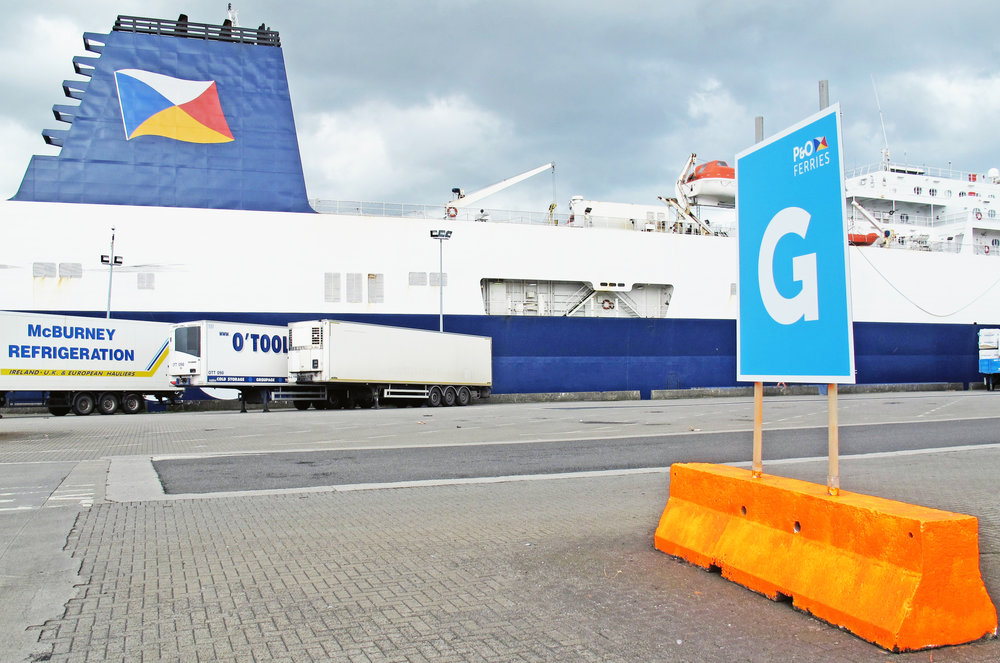 Wayfinding signage for P&O Ferries' port operations in Dublin