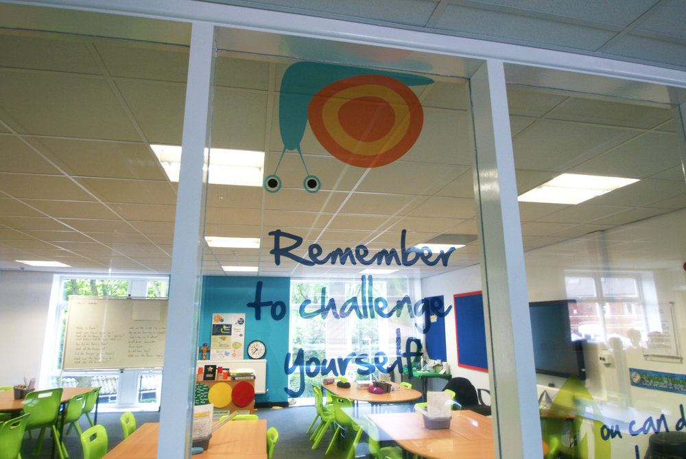Internal window graphics in optically-clear vinyl at St Mary's Primary School