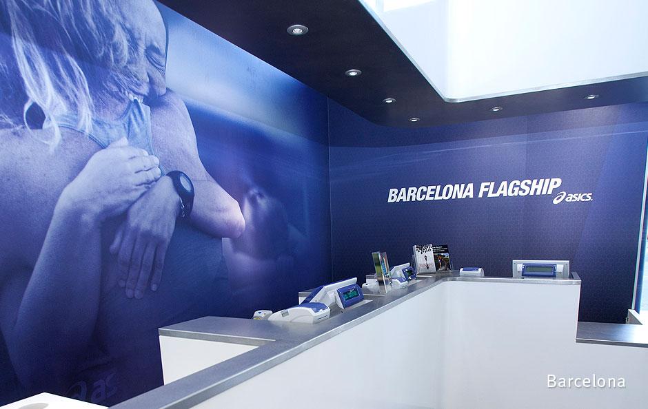 Interior graphics at ASICS' Barcelona flagship store