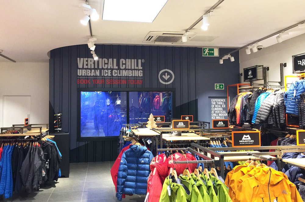 Corrugated ice wall interior graphics at Ellis Brigham's Covent Garden flagship store
