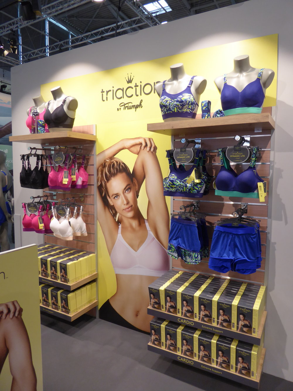 POS fixture graphics and product tags for Triaction by Triumph Lingerie at ISPO