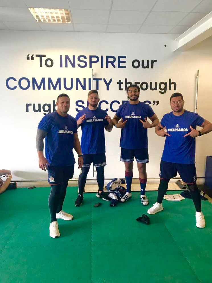 Samoa captain Chris Vui and Samoan team mates at Bristol Rugby