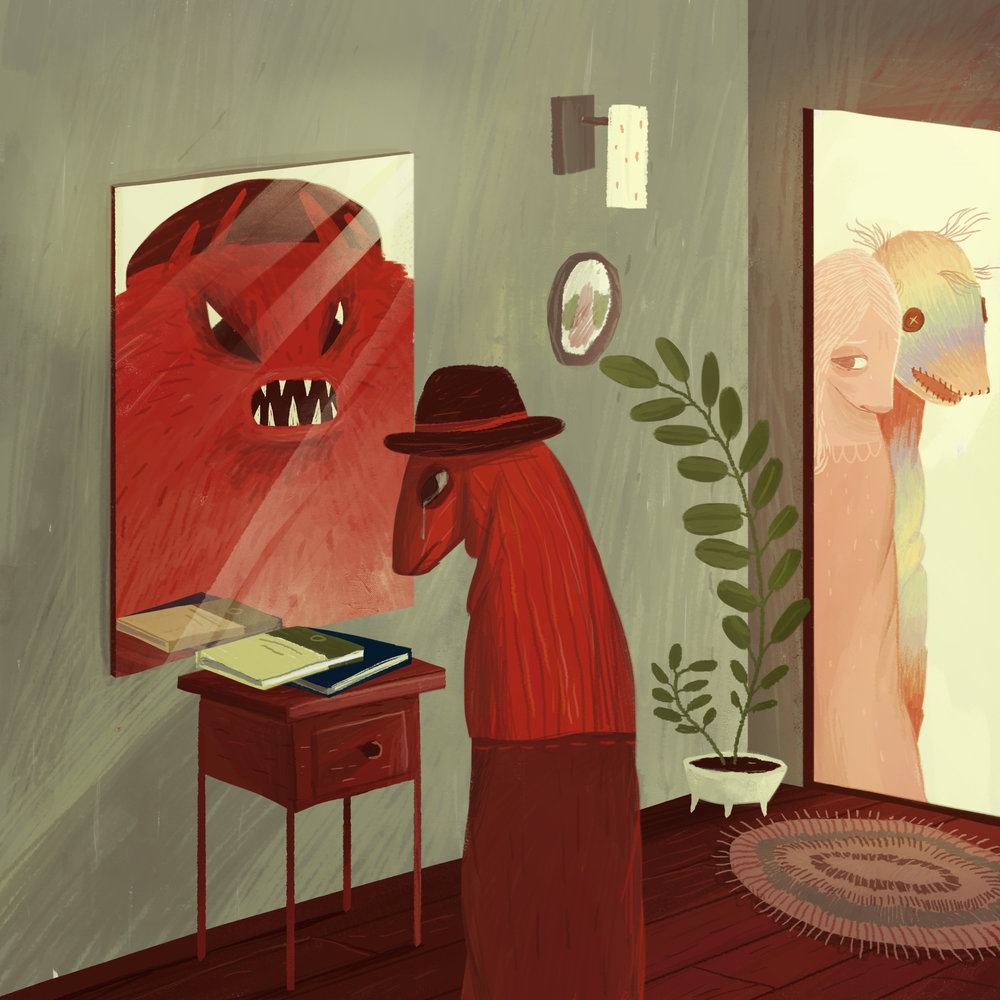 """""""Romeo's Lament""""  Romeo sees himself as a monster as the ghosts of meetings past haunt the periphery of his apartment and his books gather dust on the night stand."""