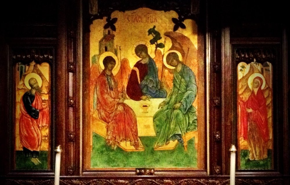 "The Holy Trinity icon was ""written"" or painted by the Rev. John Walsted. Commissioned by the Rev. Canon and Mrs. Herbert Draesel in 2002, the icon was dedicated in 2003."