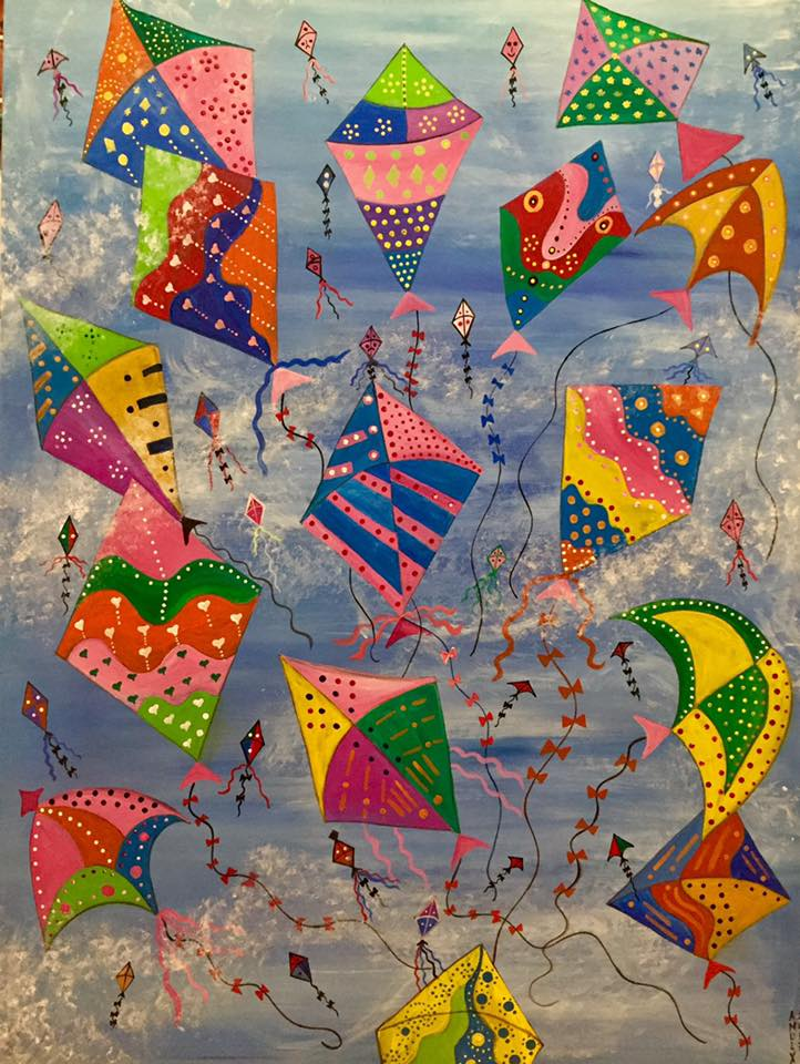 "Kites Again, The Optimism Series (40x30"")"