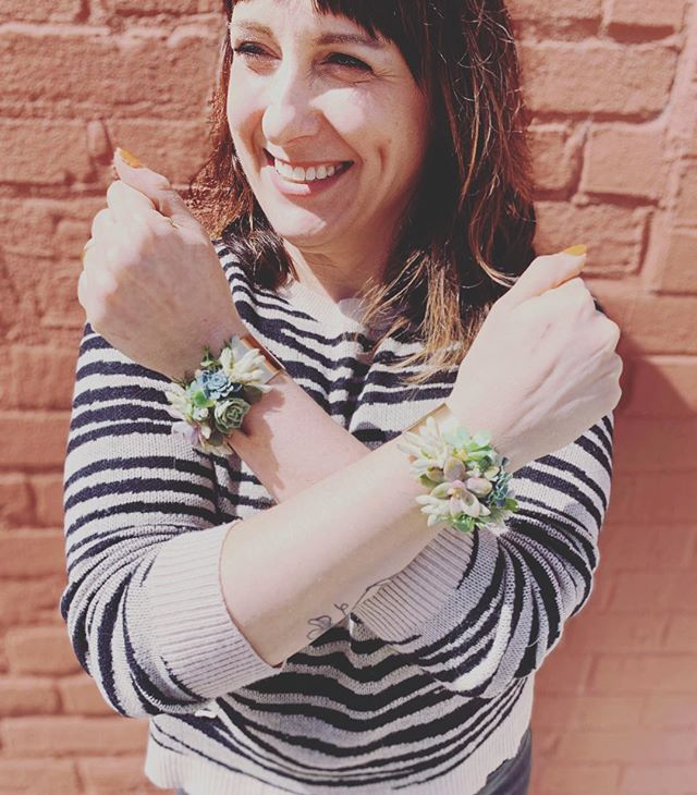 """I am so loving these """"succ-u-cuffs"""" I made for this past weekend's wedding. Inspired by the talented @passionflowersue  #ccflorals #succucuffs #succulentjewelry #flowerjewellery #corsages #wearableart #bossbabe #neverstoplearning #myflowerdiary #floraldesigner #ihavethisthingwithflowers #floristlife #smallbusinessowner #mdflorist #thebmorecreatives #makersgonnamake"""
