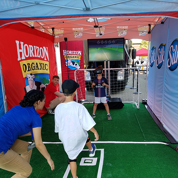 2017 DANONE NATIONS CUP  For the event at the Red Bull Arena, Gate Reality created a VR soccer game comprised of a 2-player penalty shoot-out for attendees.