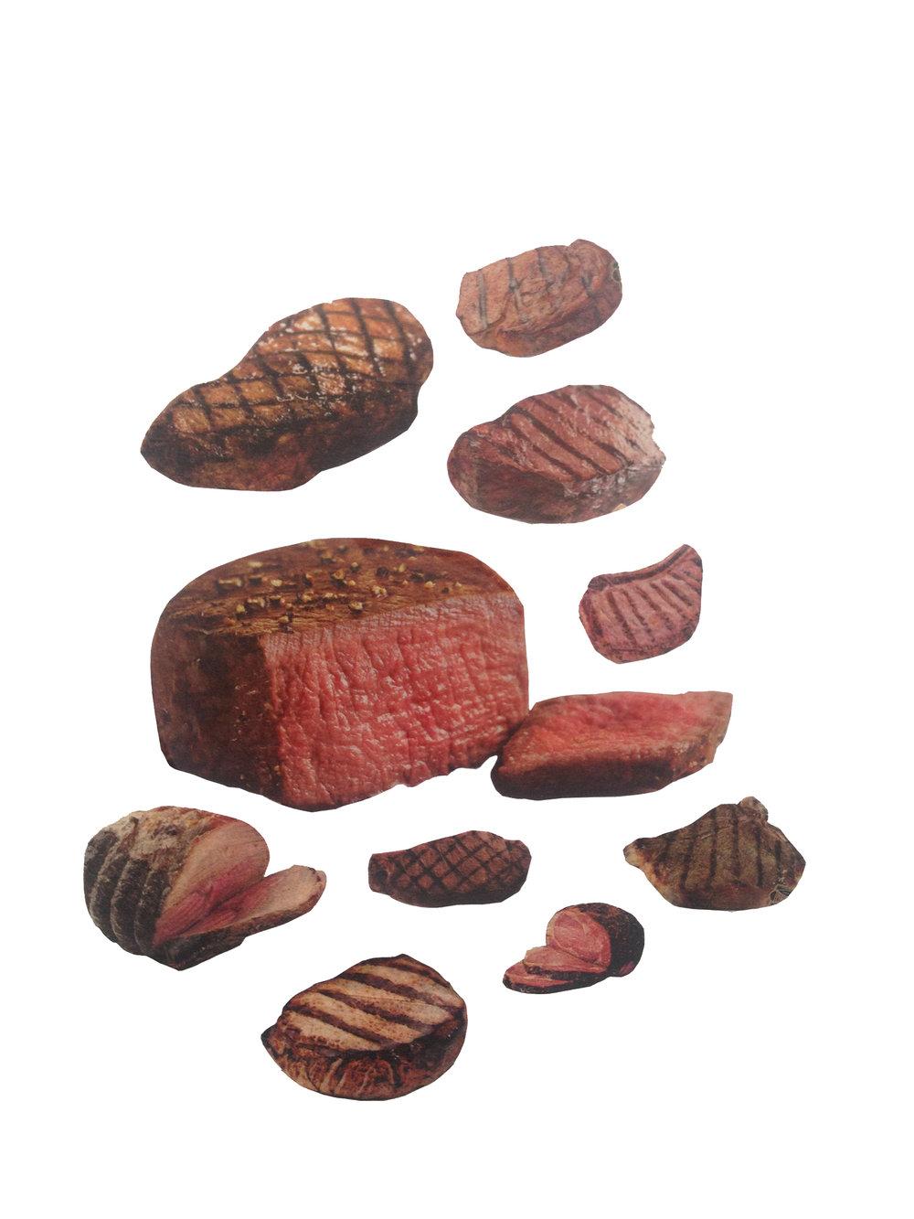 """Meats 9""""x12"""" 2015"""