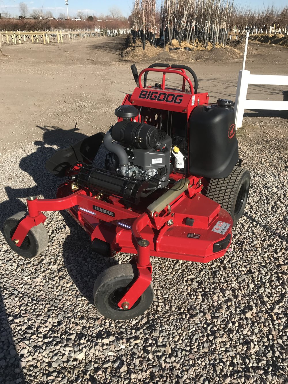 The Trooper is available in 36, 48, 52, 60 cutting decks & offers a feeling of control & balance. BigDog mowers are manufactured alongside Hustler mowers by Excel Industries in Hesston, KS.