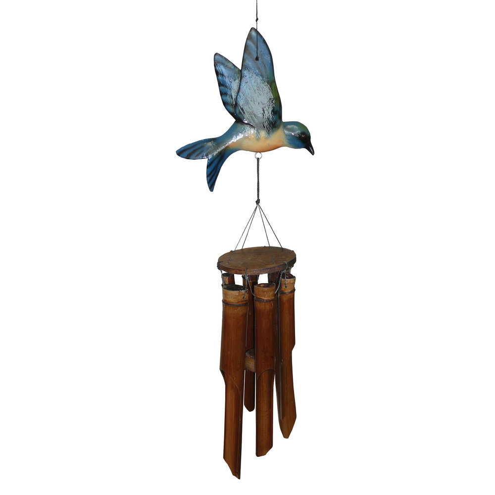 187B - Glossy Blue Bird Bamboo Wind Chime