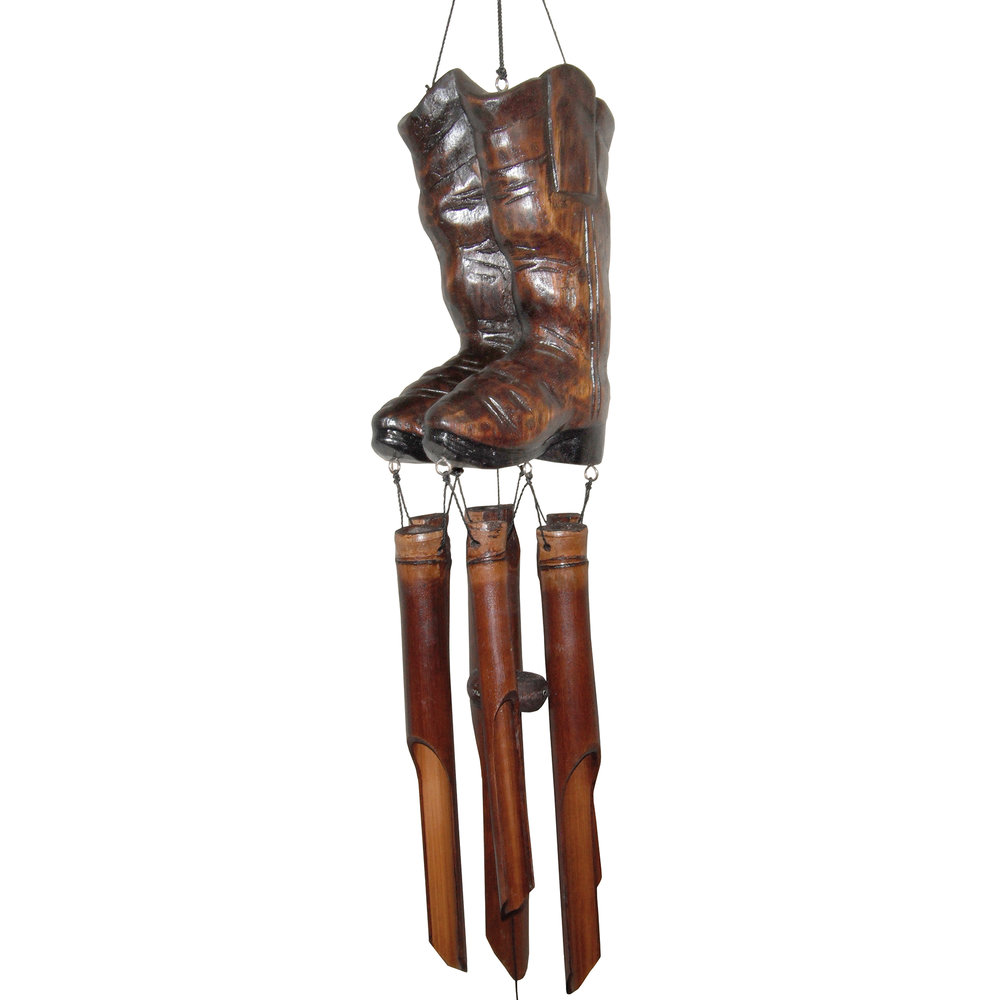 169 - Cowboy Boots Bamboo Wind Chime
