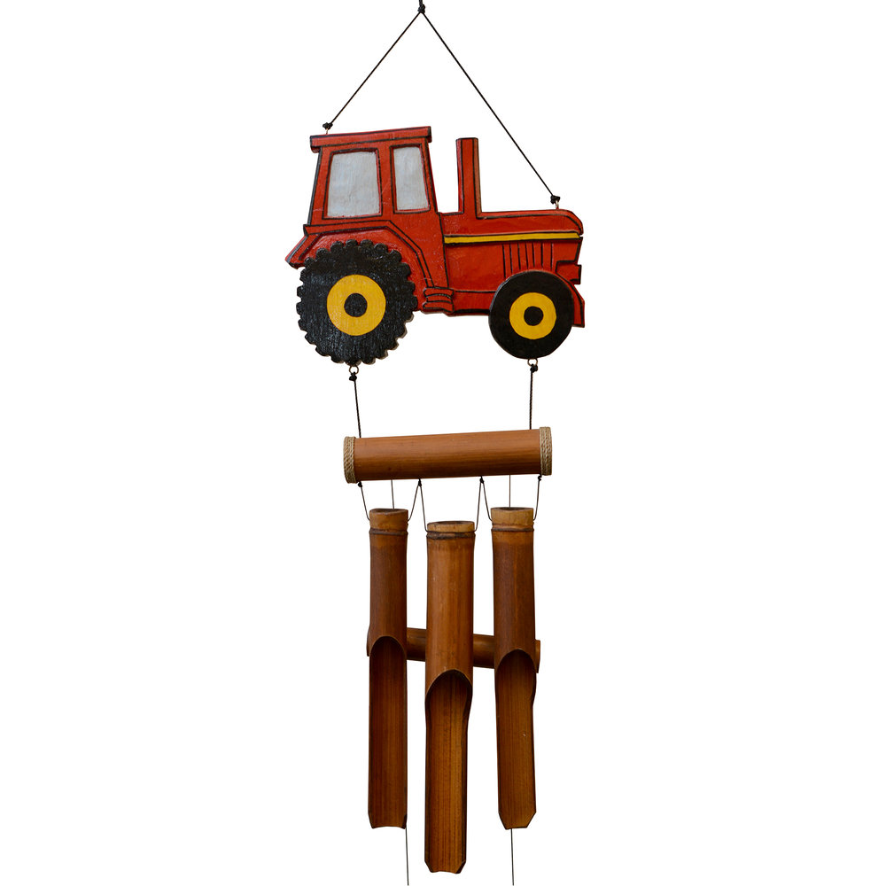 235R - Red Tractor Bamboo Wind Chime