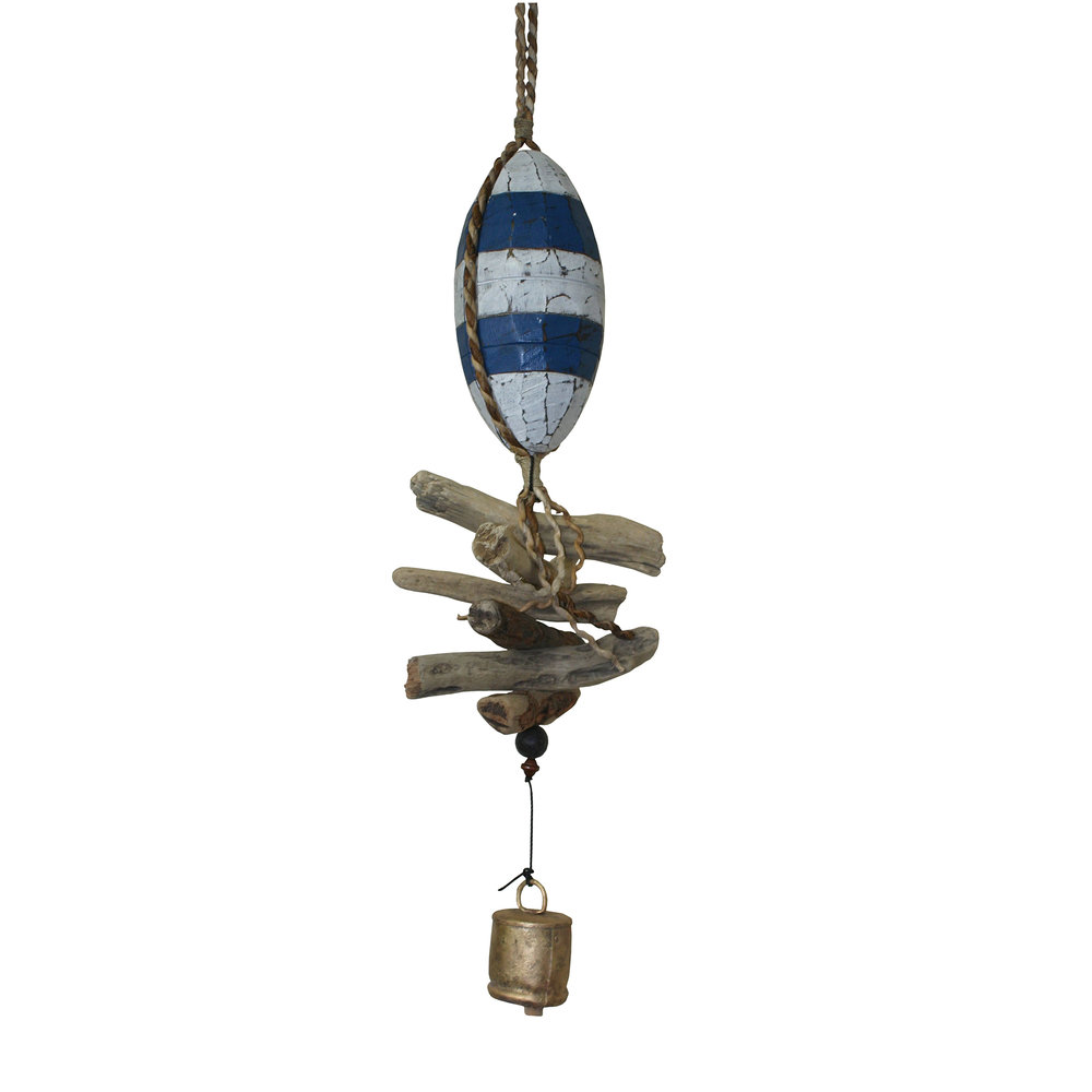 """600 - Wooden 10"""" Fish Float Cohasset Bell - Assorted Colors"""