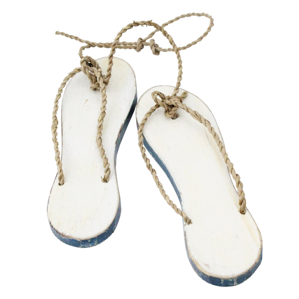 310B - Beach Sandal Pair White with Blue