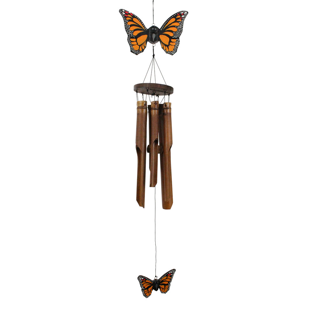 186 - Orange Butterfly Bamboo Wind Chime