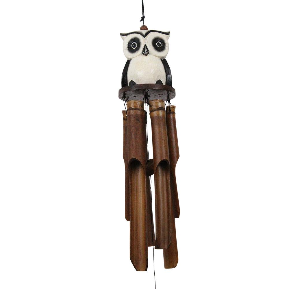 246 - Tan Oscar Owl Bamboo Wind Chime