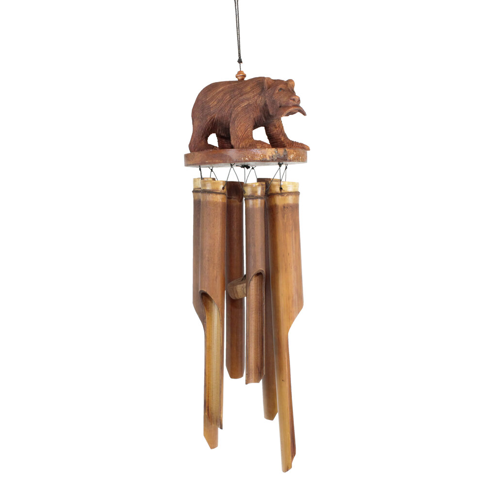 170 - Bear w/ Salmon Bamboo Wind Chime