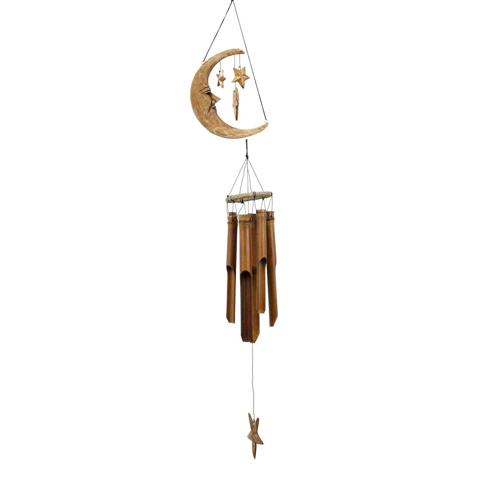 179A - Antique Cresent Moon Bamboo Wind Chime