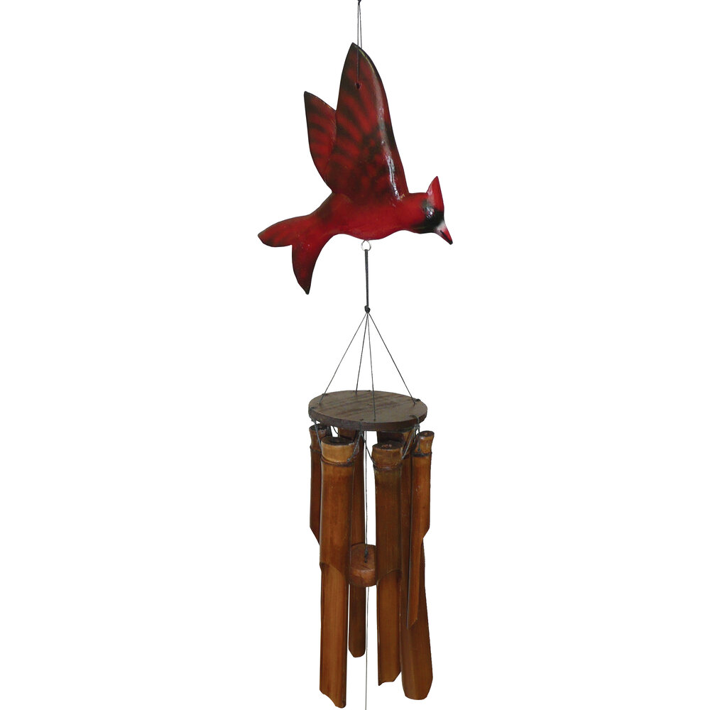 187C - Glossy Cardinal Bamboo Wind Chime