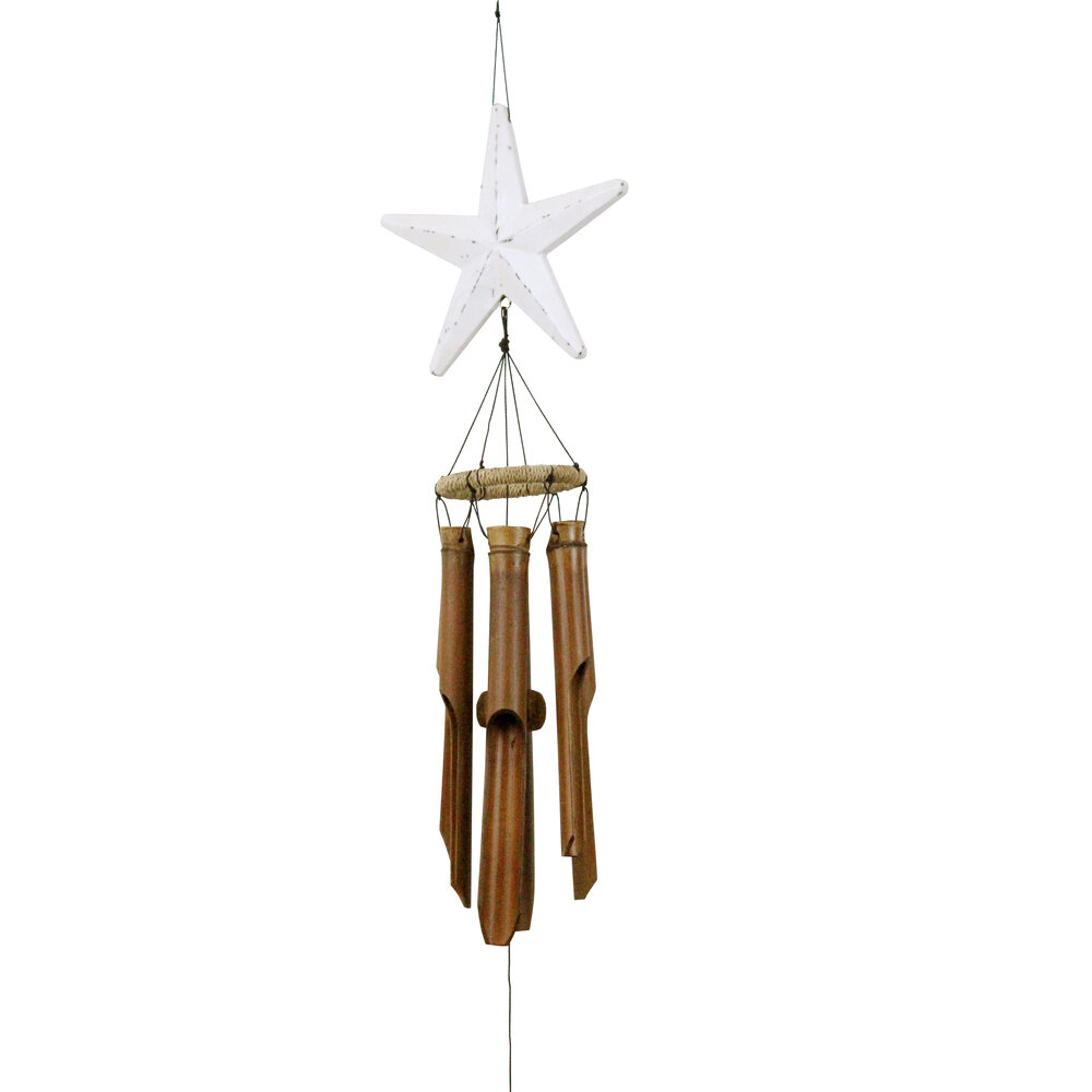 242 - White Star Bamboo Wind Chime