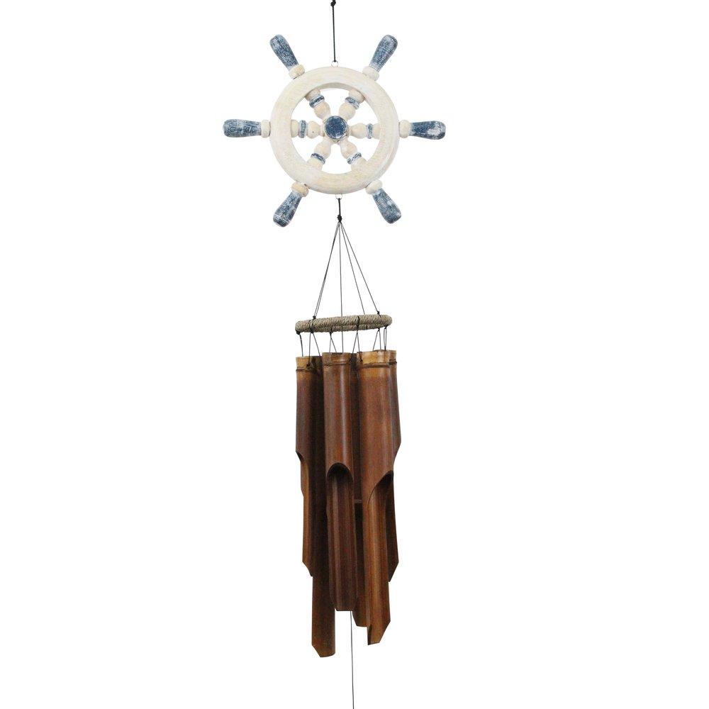209 - Ships Wheel Bamboo Wind Chime