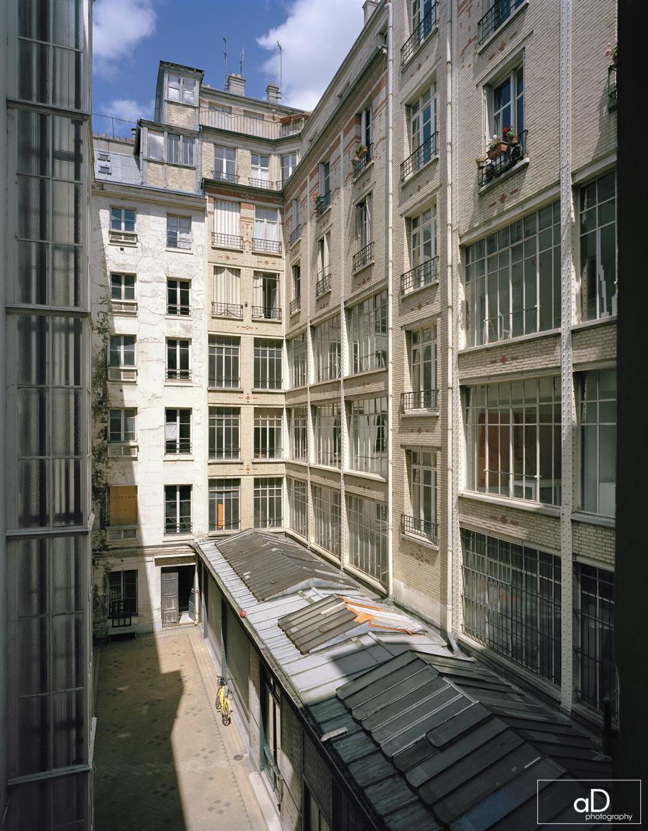 bâtiment A à gauche, B à droite ; les étages 4 à 7 sont partiellement habités - et vont le rester pendant les travaux.