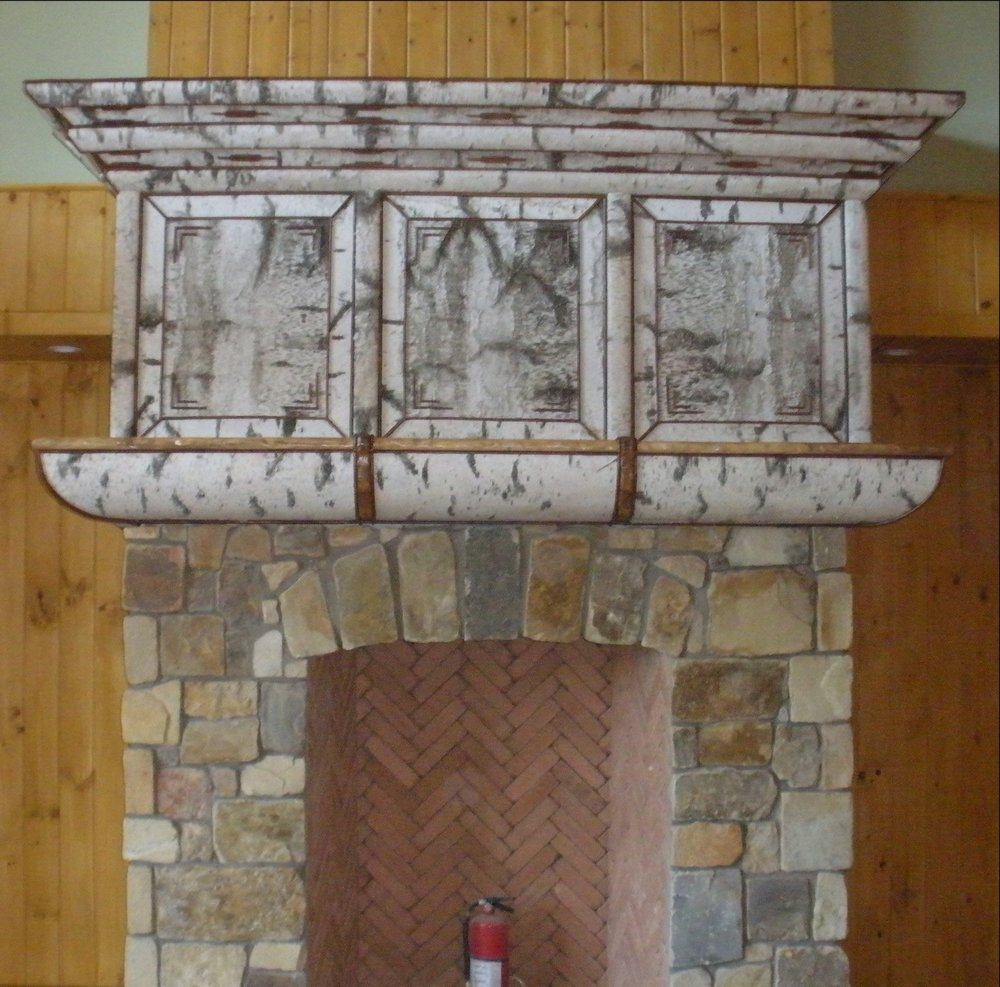 Birch Bark Fireplace Mantle