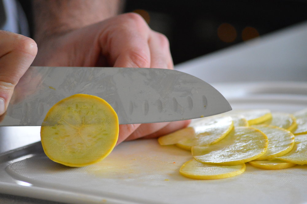 Slicing Summer Squash for our Veggie Pizza